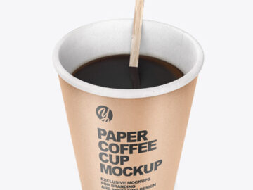 Kraft Paper Coffee Cup With Wooden Stick