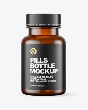 Frosted Amber Pills Bottle Mockup