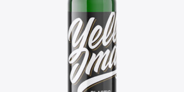Green Plastic Beer Bottle Mockup