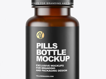 Frosted Dark Amber Pills Bottle Mockup