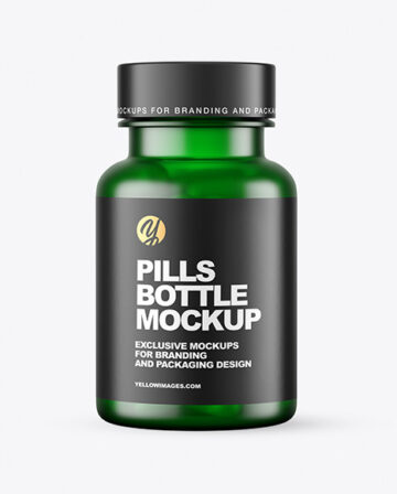 Frosted Green Pills Bottle Mockup