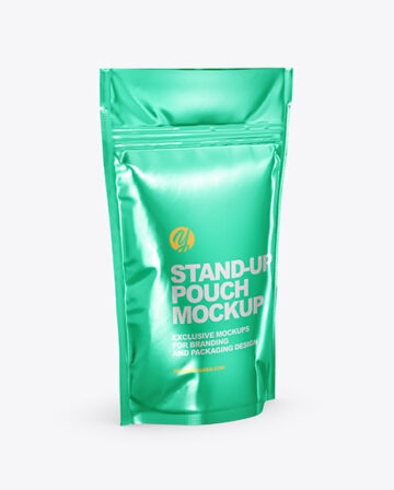 Metallic Stand Up Pouch Mockup - Half Side View