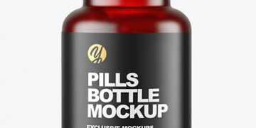 Frosted Red Pills Bottle Mockup