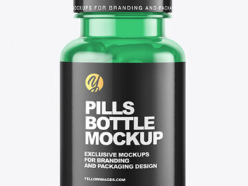 Colored Pills Bottle Mockup