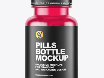 Frosted Colored Pills Bottle Mockup