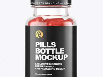 Clear Pills Bottle Mockup