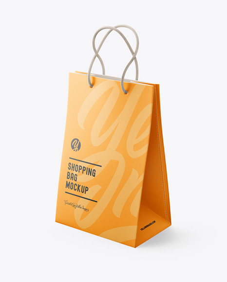 Luxury Leather Shopping Bag With Handles Mockup - Half Side View