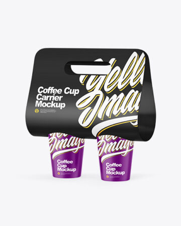 Matte Coffee Cup Carrier Mockup