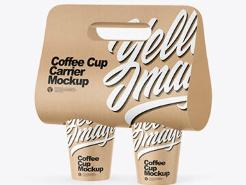 Kraft Coffee Cup Carrier Mockup