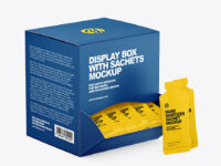 Paper Box with Hand Sanitizer Sachets Mockup