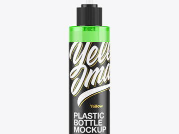 Colored Cosmetic Bottle with Pump Mockup