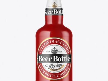 Glossy Beer Bottle Mockup