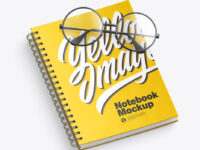 Matte Notebook with Glasses Mockup
