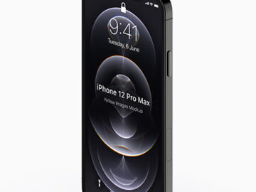 Apple iPhone 12 Pro Max Graphite Mockup - Half Side View