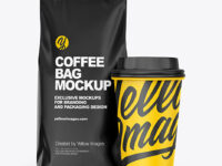 Matte Coffee Bag with Cup Mockup - Front View