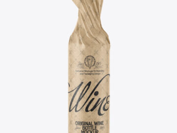 Wine Bottle in Kraft Paper Wrap Mockup