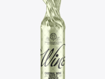 Wine Bottle in Metallic Paper Wrap Mockup