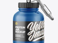 Glossy Protein Jar with Carabiner Mockup