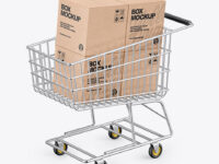 Shopping Cart W/ 4 Kraft Boxes Mockup