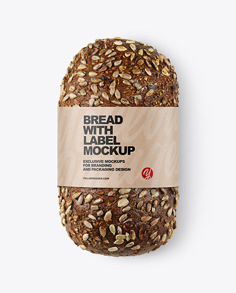 Loaf Of Rye Bread with Seeds & Label Mockup