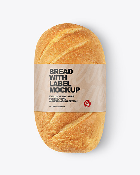 Loaf Of White Bread with Label Mockup
