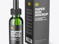 Green Glass Dropper Bottle with_Paper Box Mockup