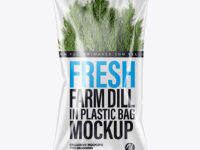 Plastic Bag With Fresh Dill Mockup