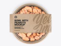 Paper Bowl With Peanuts Mockup