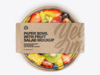 Paper Bowl with Fruit Salad Mockup