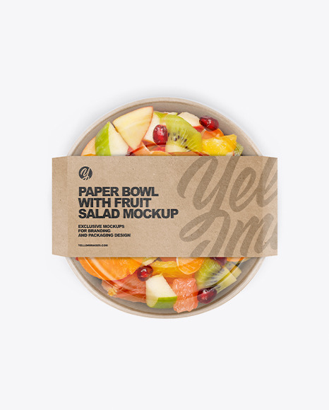 Paper Bowl w/ Fruit Salad Mockup