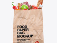 Kraft Paper Bag with Food Mockup
