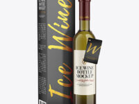 Antique Green Glass White Wine Bottle With Box Mockup