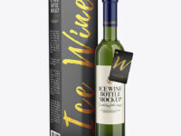 Green Glass White Wine Bottle With Box Mockup