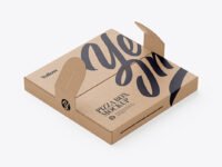 Kraft Paper Pizza Box With Handles Mockup