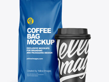 Glossy Coffee Bag with Cup  Mockup -  Front View