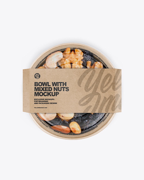 Paper Bowl With Mixed Nuts Mockup