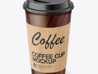 Paper Coffee Cup with Kraft Holder Mockup