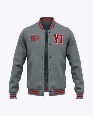 Men's Heather Letterman Jacket or Varsity Jackets - Front View