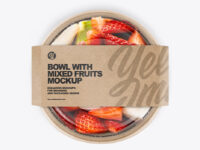 Paper Bowl With Mixed Fruits Mockup