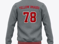 Men's Heather Letterman Jacket or Varsity Jacket - Back View