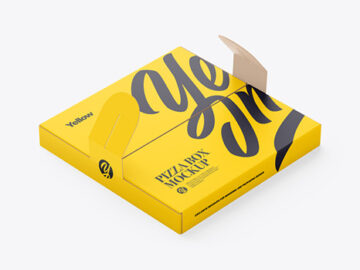 Matte Paper Pizza Box With Handles Mockup