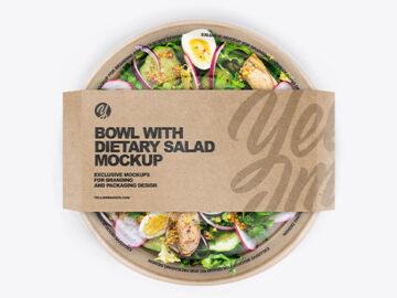 Paper Bowl With Dietary Salad Mockup