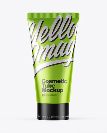 Glossy Metallic Cosmetic Tube Mockup