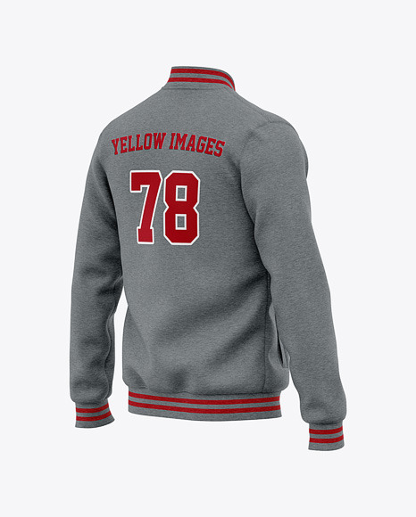 Men's Heather Letterman Jacket or Varsity Jacket - Half Back Side View