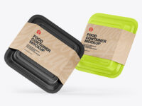 Two Food Containers w/ Kraft Labels Mockup