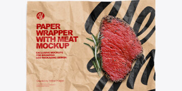 Papper Wrapper With Meat Mockup