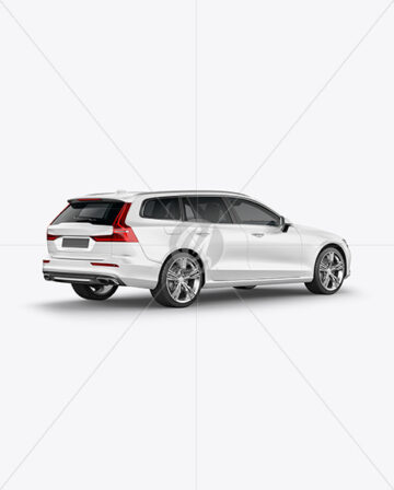 Station Wagon Mockup - Back Half Side View