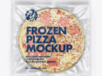 Plastic Transparent Vacuum Bag W/ Frozen Pizza Mockup