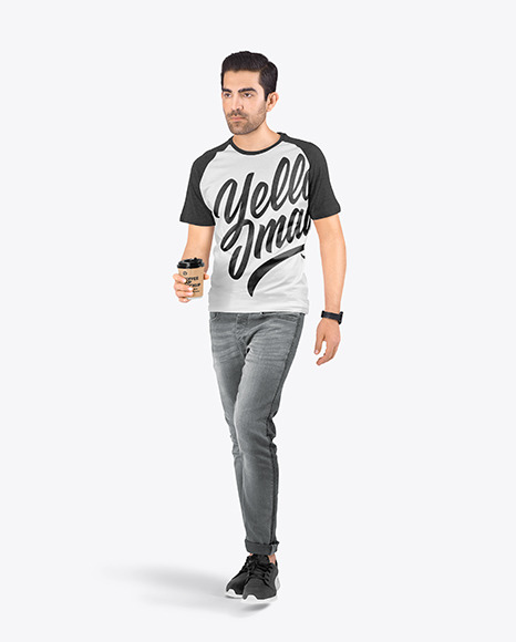 Man in a Raglan T-Shirt and Jeans Mockup
