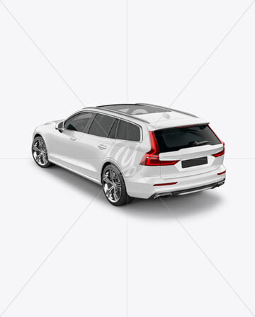Station Wagon Mockup - Back Half Side View (High-Angle Shot)
